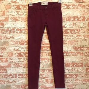 Hollister Super Skinny Burgundy Jeans